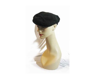 Vintage Presscott Black Wide Wale Corduroy Newsboy Cap, Chic Stylish Driving Cap, Classic Flat Hat Silhouette, Union Made Label, Size 7