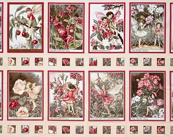 Blossom Fairies Panels by Michael Miller with drawings by Cicely Mary Barker.