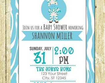Blue Zebra Boy Safari Printed Baby Shower Invitations