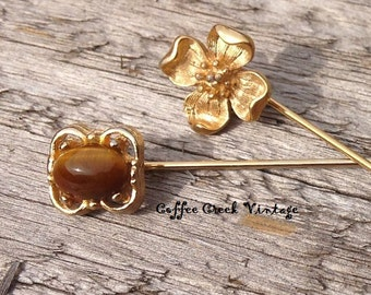 Vintage Stick Pins (2) Gold and Tiger Eye
