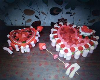 Tarta de chuches para San valentin/ sweets cake for saint valentines