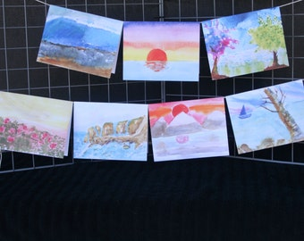 Landscape Watercolor Note cards (age 9)