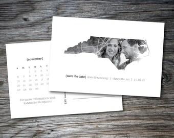 North Carolina Save the Date, Printable Save the Date, Save Our Date, Map, State, Calendar, Digital File, Postcard, Charlotte Wedding, Fun