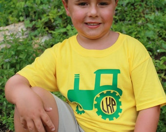 Monogrammed Kids Tractor T-Shirt
