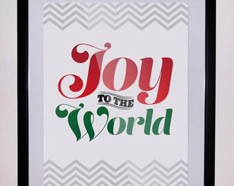 11x14 inch Joy to the World Christmas Wall Art