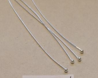 Brass Ball Headpins, Headpins, 50mm headpins, Silver Headpins