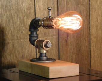 Black Iron and Brass Desk Pipe Lamp with Dimmer Switch, Flaming Maple and Edison Bulb