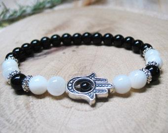 Hamsa Bracelet Energy Bracelet Healing Bracelet Protection Bracelet Spiritual Bracelet Black&White Bracelet Black Onyx Beaded  Bracelet