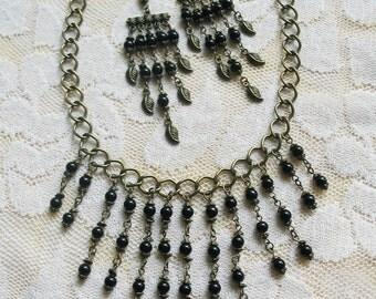 Black Onyx Jewelry Black Necklace Black Earrings Gemstone Jewelry Ethnic Jewelry Vintage Jewelry Wedding Jewelry Christmas Gift
