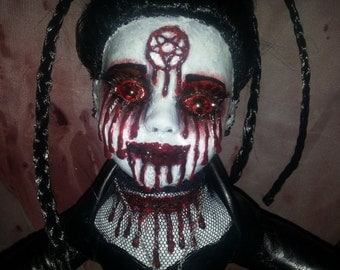 Horror Doll Gory Bloody Drips Pentegram Halloween Gothic