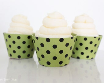 Green & Black Dot Cupcake Wrappers, Green Cupcake Wrappers, Polka Dot Cupcake Wrappers, Cupcake Wrappers, Green Party-Set Of 6,12,16,24+