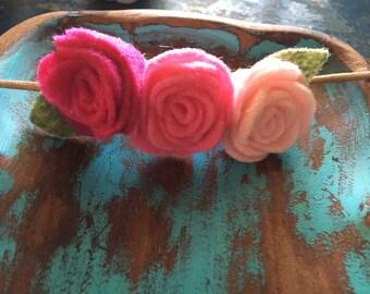 Felt flower headband on nylon