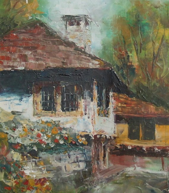 European Oil Painting Country House Signed