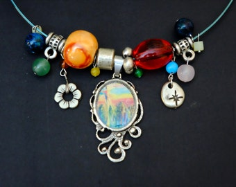 RAS of neck tightrope Walker, silver Doré, oval Locket, bead and charm necklace