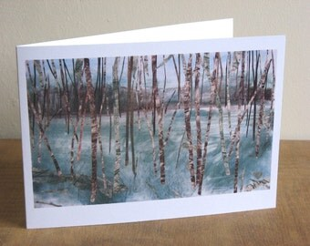 Green Paradise art greeting card, fine art, landscape, Yorkshire, forest, woodlands, trees, birch trees, collage, pastel, charcoal, graphite