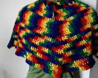 Rainbow Capelet, Mini Poncho