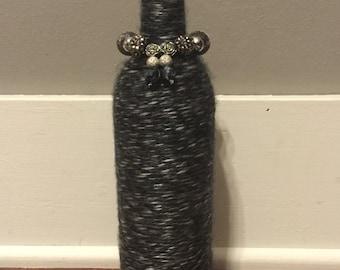 Yarn Wrapped and Jeweled Wine Bottle/Bottles Crafts/Decor