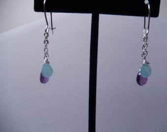 Chalcedony and Amethyst Dangle Earrings
