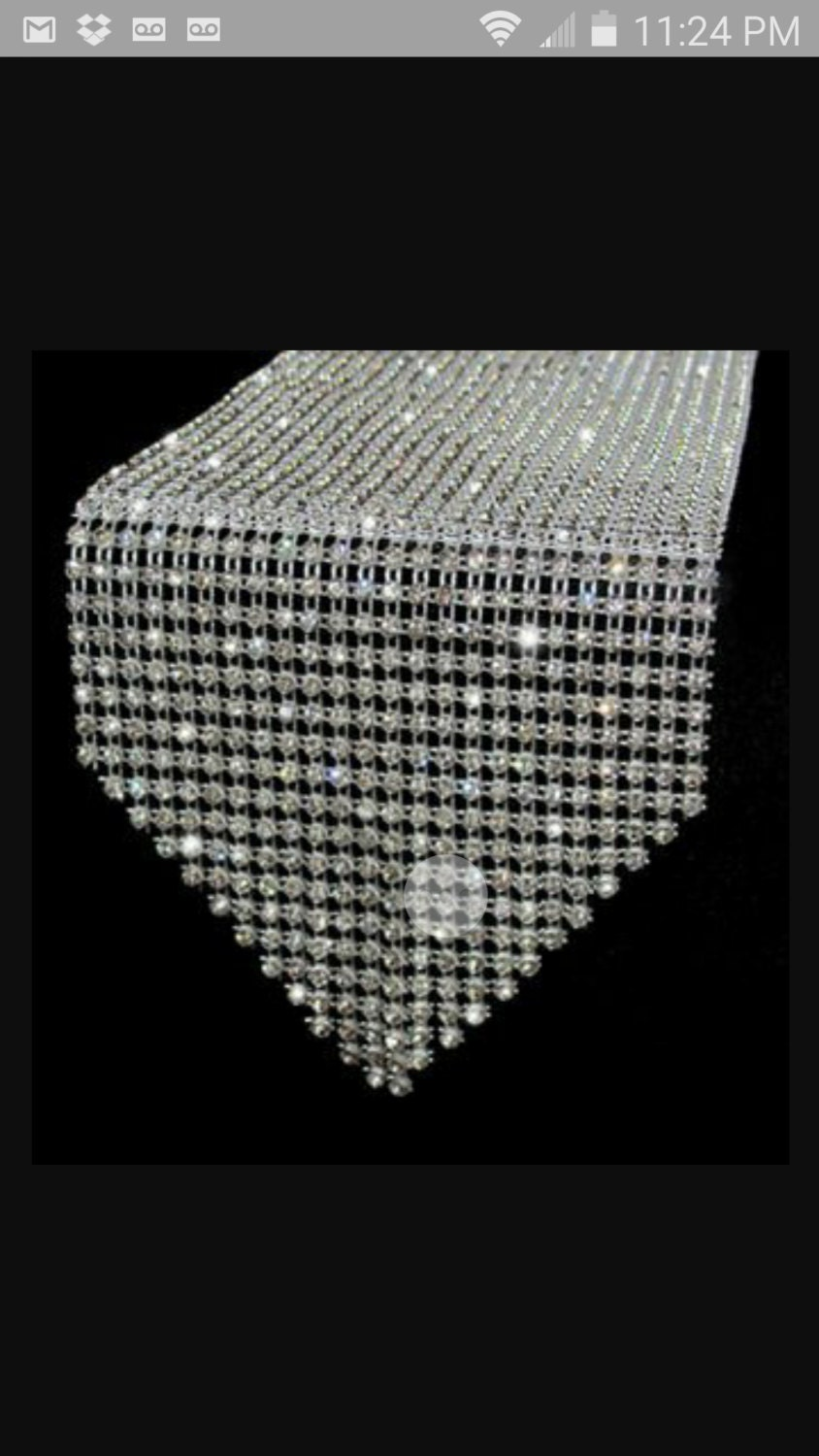 Rhinestone bling table runner 108 inches by prettyperfektparty for 108 table runner