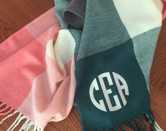 Monogrammed Plaid Scarf- Personalized Womens Scarf