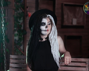 Set of light synthetic dreads Two-faced Halloween dreadlocks look party dreads hair extensions natural black white
