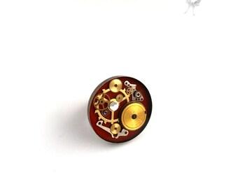 Steampunk Ring. Steampunk Jewelry. Steampunk Watch Ring. Victorian Steampunk Ring. Gears. Watch movement. OOAK. Bronze. Industrial