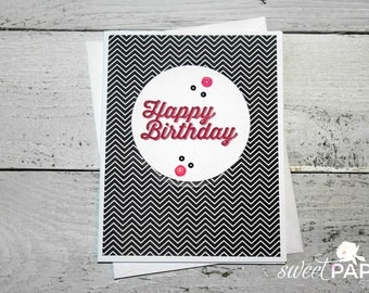 Stampin' Up! Birthday Card, Pretty in Pink Collection, Feminine Birthday Card, Black and Pink Greeting Card, Black Chevron Birthday Card