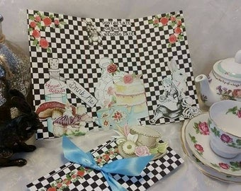 Alice in wonderland wedding invitations mad hatter white rabbit check board drink me eat me clock tea party cake