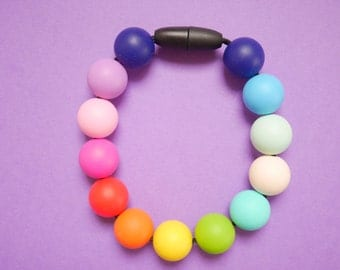 Silicone Bracelet, Rainbow Bracelet, Teething Bracelet, Teether, Silicone Teether, BPA FREE Silicone Beads