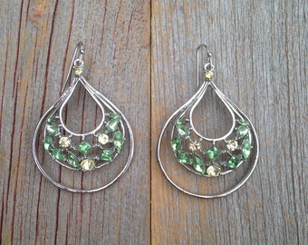 Green Gem Tear Drop Earrings