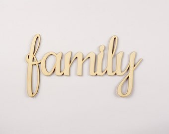 Family wooden sign - Lasercut - cutout - wedding decoration - family tree - children - gift - hanger - door decor