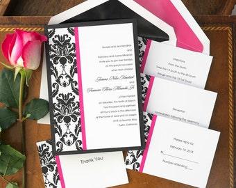 Victoria Damask Wedding Invitation Set   Layered Invitation Suite   Digital  Wedding Invite   Simple Panel