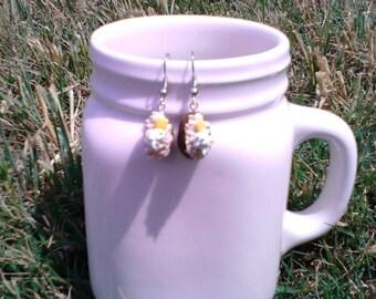 Baked potato dangle earrings