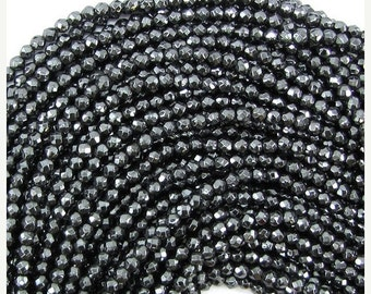 """10% SALE 3mm faceted hematite round beads 15.5"""" strand 31227"""