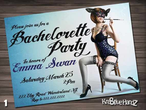 Pinup Bachelorette Party Invitation - personalized printable invite for the bride bachelorette party - includes free thank you card