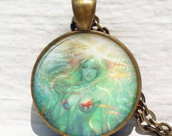 Mermaid necklace ,Fairytale Mermaid pendant ,Mermaid pendant Mermaid jewelry vintage style Henry O'Hara Clive