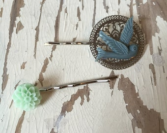 Blue Bird/ Mint Flower Bobby Pins 2 Pack