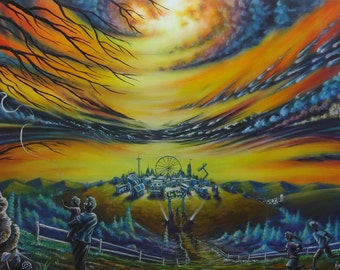 Acrylic, Painting, Art, Original Painting, Carnival, Fair, Surreal, Wall art, Festival, Ferris Wheel, Fine Art, Wall Decor, Balloon, Color