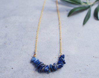 Blue Gemstone 14K gold plated chain necklace - SGN-003 | Faithis.one