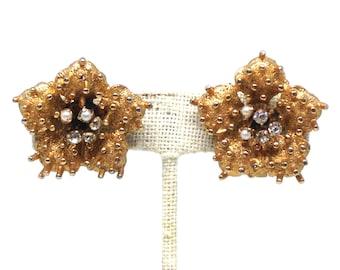 Gorgeous Clear Rhinestones Flower Gold Tone Vintage Estate Clip Earrings