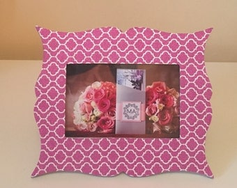 Pink & Silver Print 4x6in Photo Frame