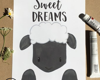 Sweet Dreams Kids Nursery Art Print, Children's Room Decor, Watercolor/Gouache Print