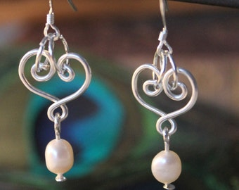 Siberne heart with genuine freshwater pearls