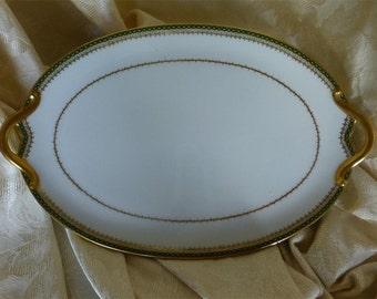 C.H. Field Haviland Limoges Green & Gold Trim-GDA France Handled Oval Serving Dish