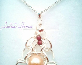 Sterling silver Tao flower with peach cultured pearl and garnet