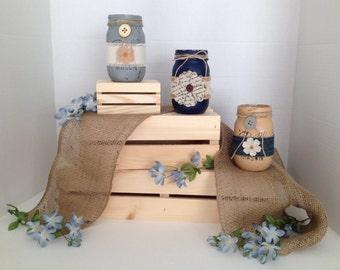 Flowers & Denim Mason Jars