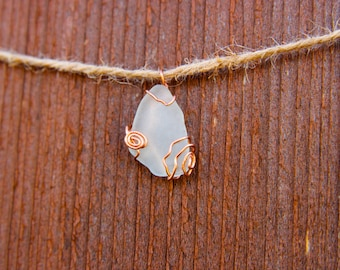 Clear/White Sea Glass and Wire Pendant