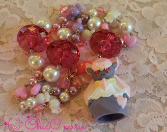 Pokemon Beaded Necklace: Upcycled Diancie Toy- Fairy Kei, Geekery, Sweet Lolita, Gamer Gear, Anime