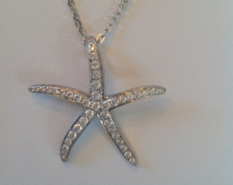 """Sterling silver and cz starfish pendant necklace on 18"""" sterling silver chain"""