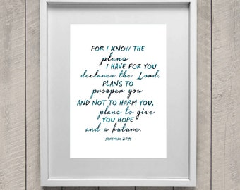 For I know the plans I have for you, declares the LORD. Jeremiah 29.11